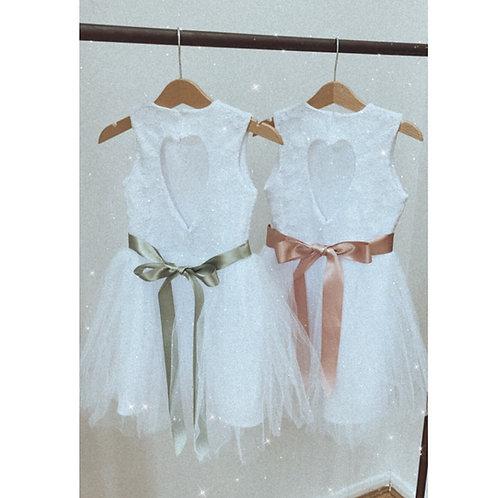 Handmade lace tutu flower girl dress with ribbon bow sash