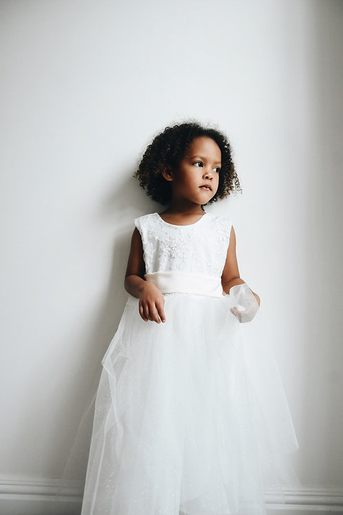Embroidered top, sparkle tulle bow sash dress