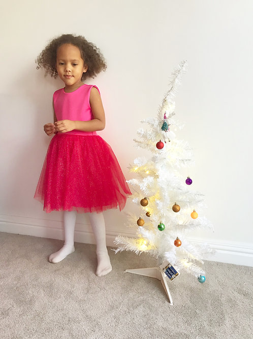 Pink sparkly tulle dres