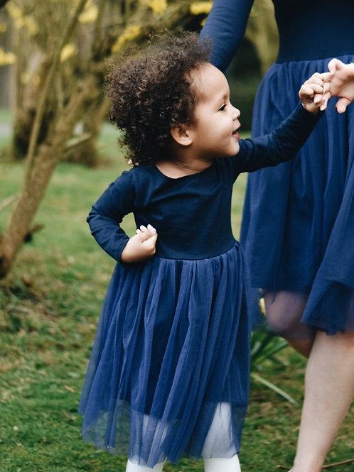 Long sleeve cotton & tulle dress