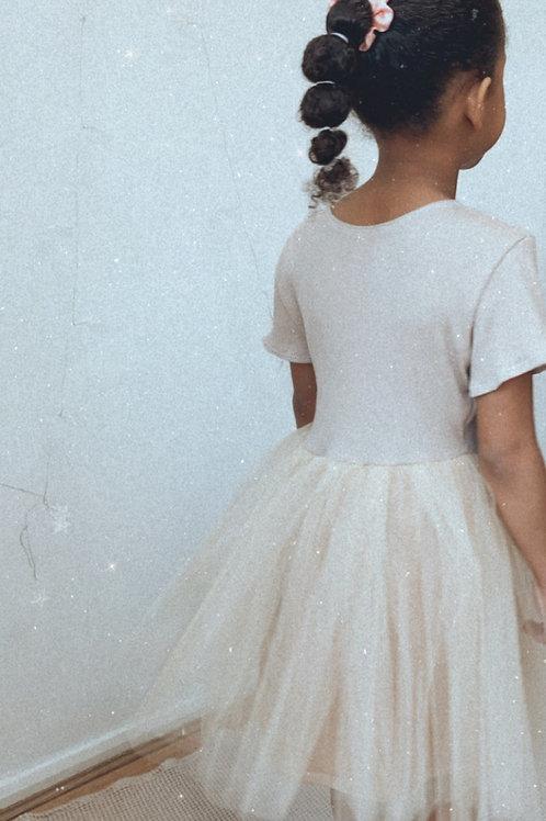 Beige ribbed tutu dress