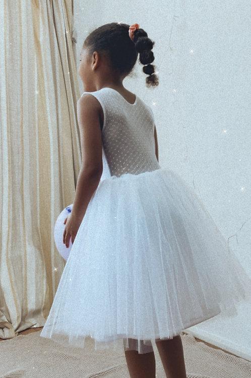 White dot sheer back tulle dress