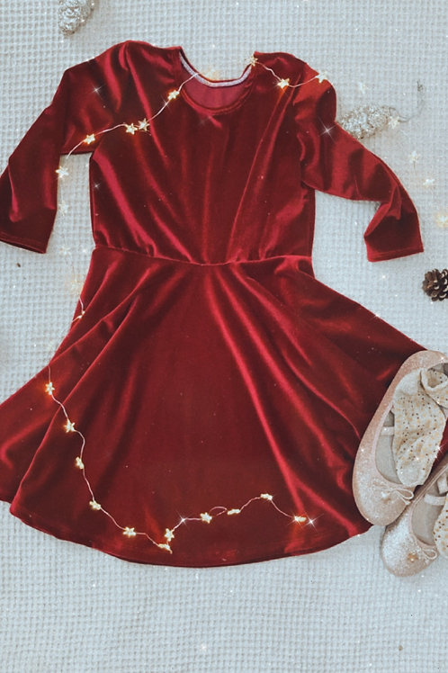 Long Sleeve Velvet Skater Dress