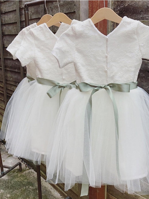 Handmade lace cap sleeve Pearl button back tutu flower girl dress