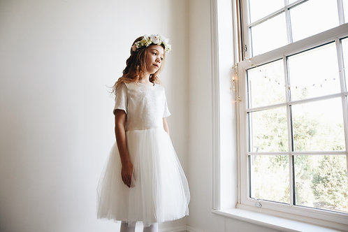 Velvet bow soft tulle dress
