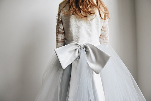 Long sleeve lace & soft bow sash dress