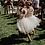 Thumbnail: Lace ribbon laced back soft tulle dress