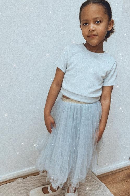Grey soft tulle tutu skirt