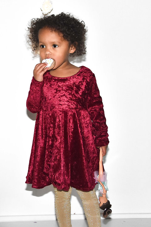 Wine velour skater dress