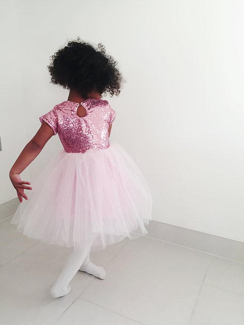 Pink sequin sparkle tulle dress