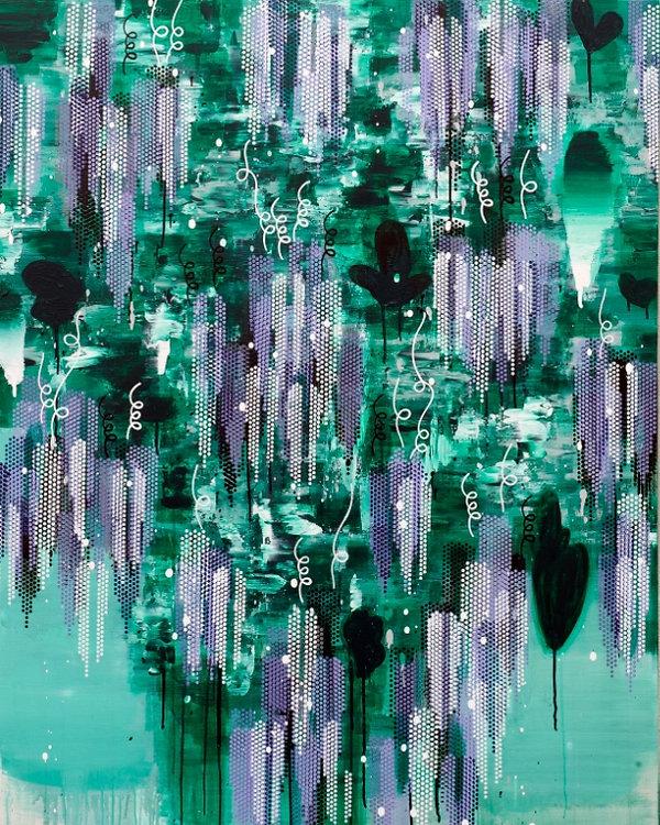 김익모, 등나무꽃 아래에서 일기를 쓰다1561. 162+130cm.캔바스