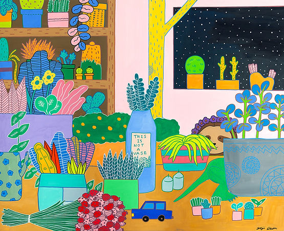 Garden Room, 75.7 x 60.7 cm, Gouache on
