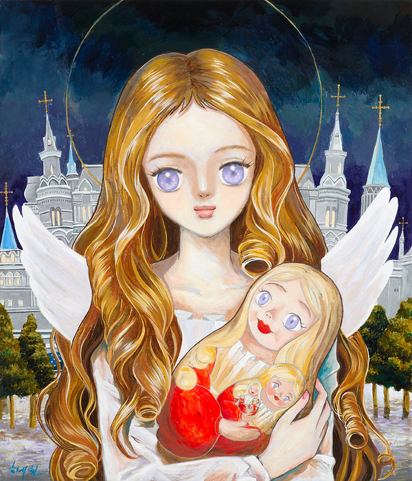 An angel with a Matryoshka doll_Acrylic