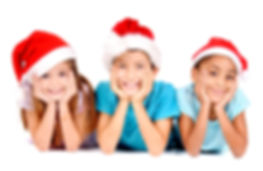 little kids with christmas hats isolated