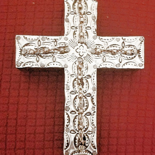 Repousse Metal Cross With Metal Beads