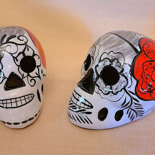 White Skull With Red Flower