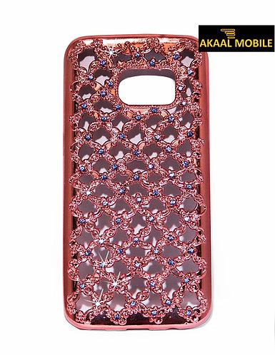 Backcover für Samsung S6 Geflochten mit Glitzersteinen Rosé