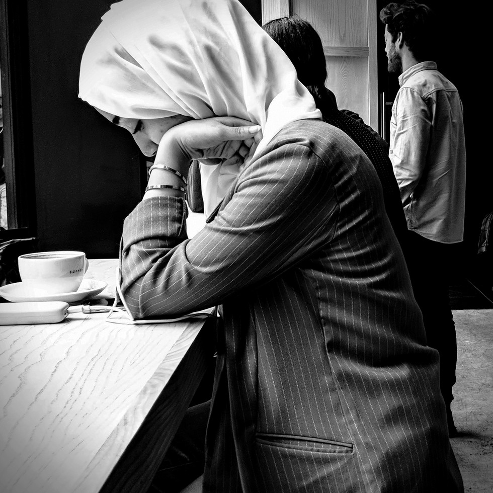 Muslim Girl at London Cafe
