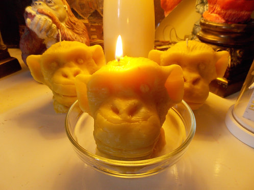 Beeswax monkey candles