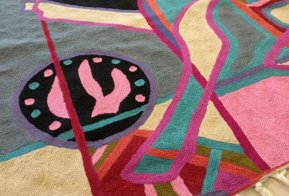 שטיח 120*180 מודרני בצבעי ורוד שחור