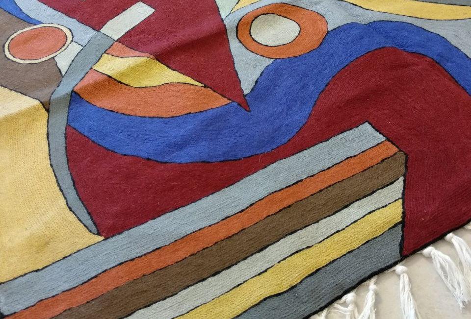 שטיח 120*180 קשמירי בעבודת יד בסגנון מודרני