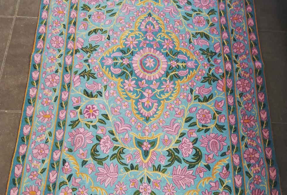 שטיח צמר קשמירית 120*180 פרחים תכלת וסגול