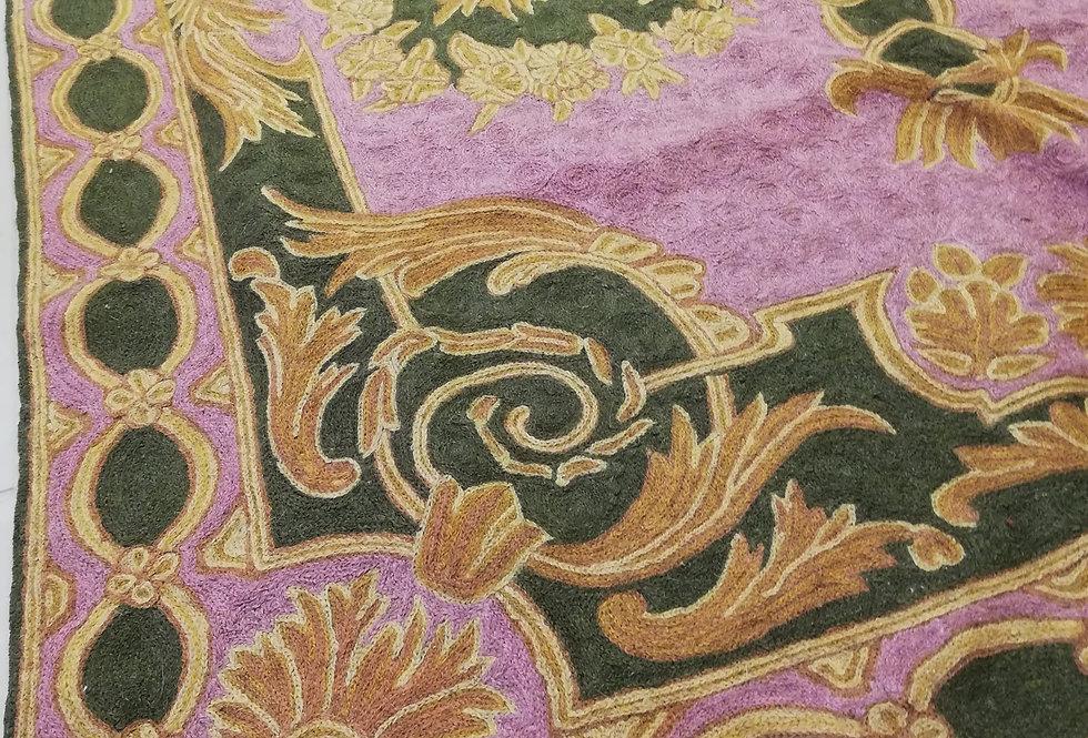 שטיח 120*180 קשמירי בעבודת יד בגווני ורוד ירוק