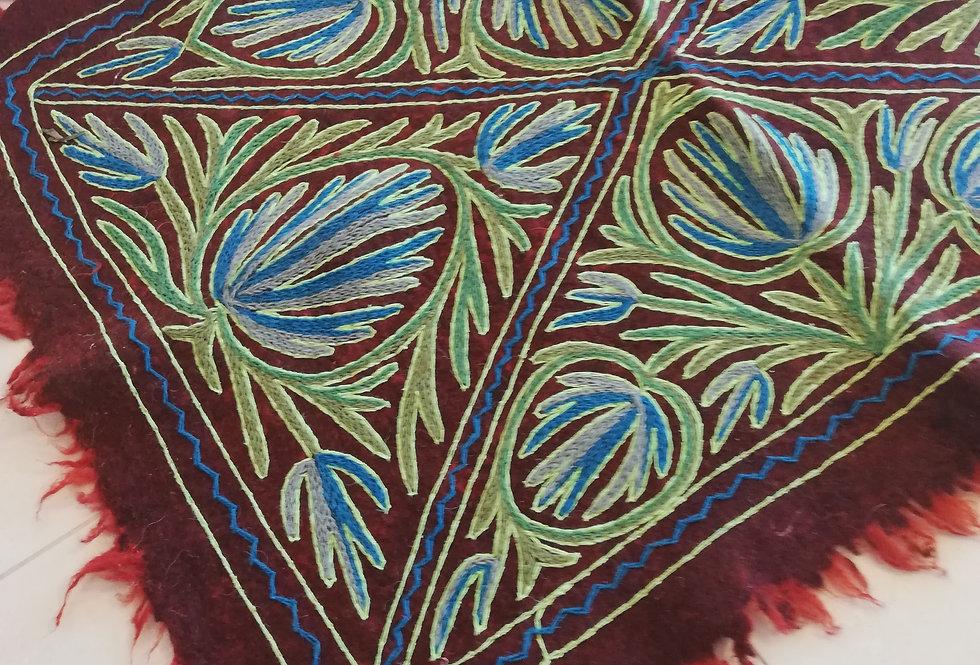שטיח צמר על צמר 120*90 משולשים ירוקים