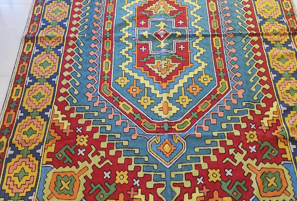 שטיח 275*180 קשמירי בעבודת יד בגוונים עזים