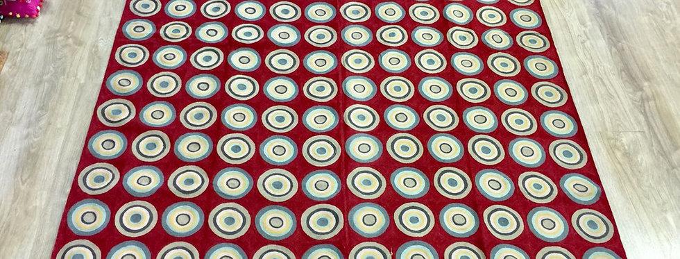 שטיח 275*180 קשמירי בעבודת יד המשלב רקמת עיגול