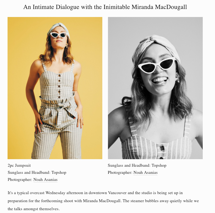 An Intimate Dialogue with the Inimitable Miranda MacDougall