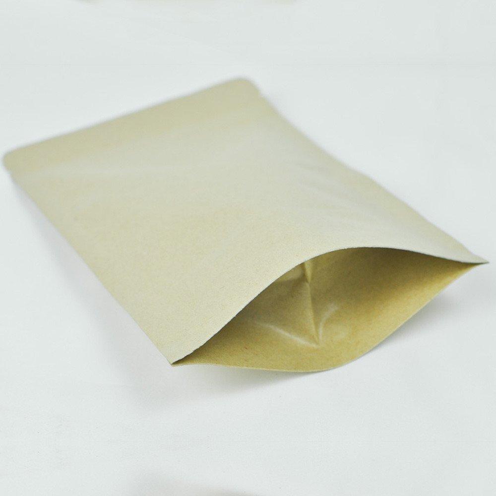 Brown Kraft Stand Up Mylar Foil Ziplock Bags (100 Bags)