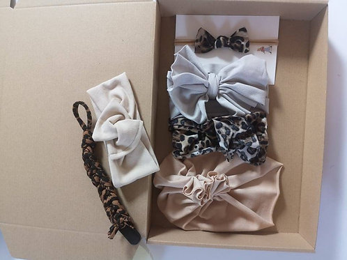 Baby Girl headband set 0-6 months (Brown)