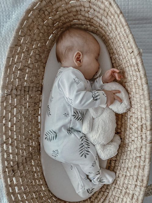 100% organic cotton GREY LEAVES babygro