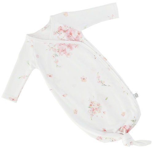 Vest/cocoon with knot 100% organic cotton JAPANESE FLOWERS 0-6 months