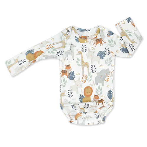 Long Sleeve Baby Bodysuit - Wild Safari