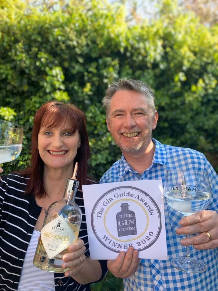Sara and Paul of Lytham Gin celebrate their win with a Bee's Knees and Tonic