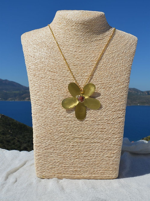 handcrafted daisy with goldenstone χειροποίητα κοσμήματα μαργαρίτα με χρυσόλιθο