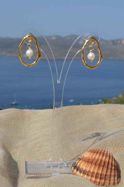 Gold organic with fresh water pearls-Χρυσό οργανικό με μαργαριτάρια