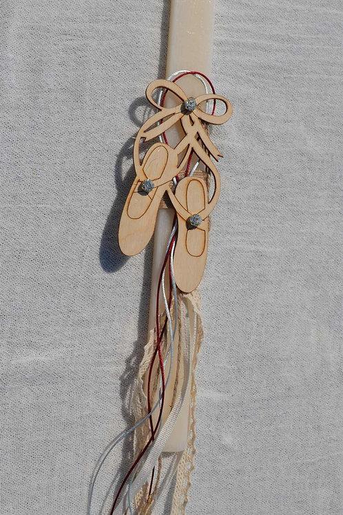 Λαμπάδα με ξύλινα πουέντ