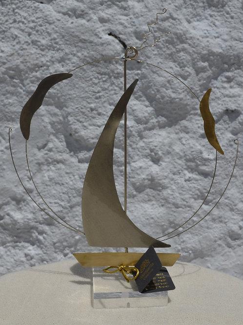 handcrafted art decoration sailing boat χειροποίητο διακοσμητικό ιστιοφόρο