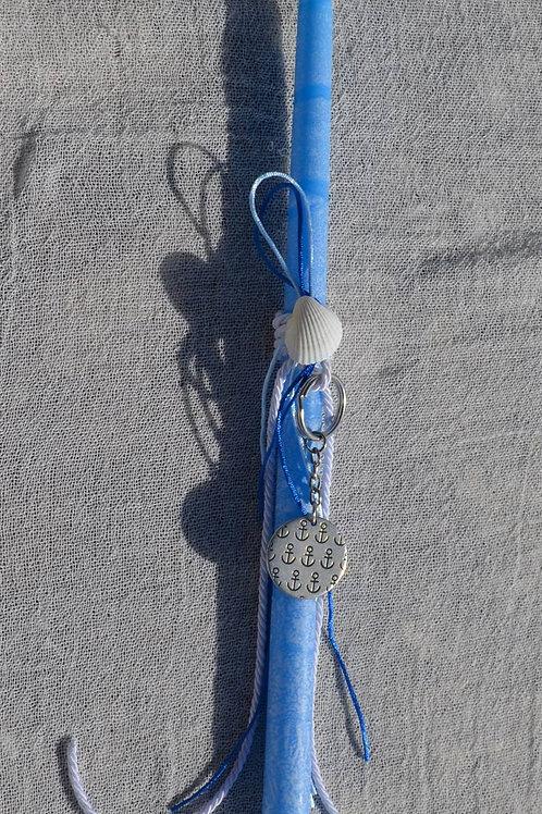 Λαμπαδάκι μπλε με στρογγυλό μπρελόκ άγκυρες