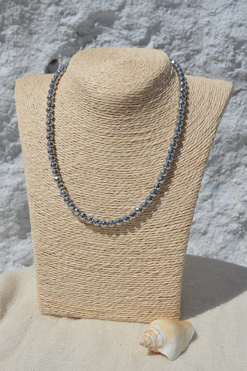 faceted hematite necklace with silver 925 slider chain