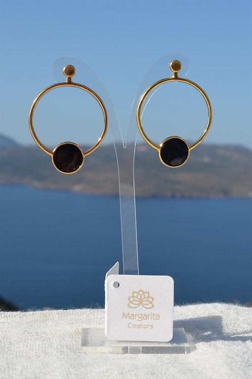Hoop with black circle - Κρίκος με μαύρο στρογγυλό
