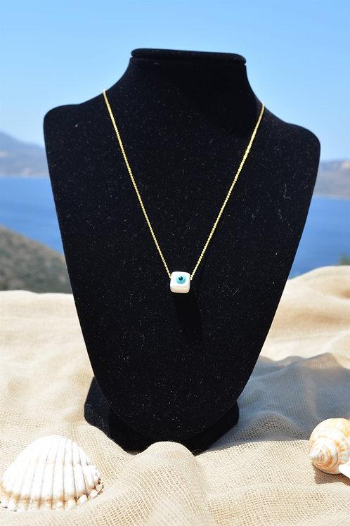 Necklace with eye cube- Κολιέ με κύβο ματάκι
