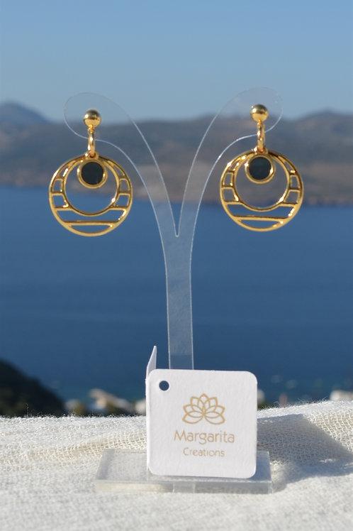 Round earring with lines & vitraux- Στρογγυλό σκουλαρίκι με γραμμές και βιτρώ