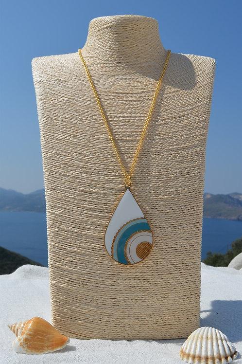 Necklace drop light blue - Κολιέ σταγόνα γαλάζιο