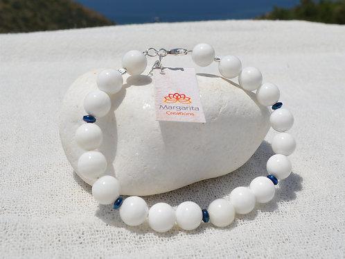 white onyx bracelet 8mm with hematite λευκός όνυχας με αιματίτη