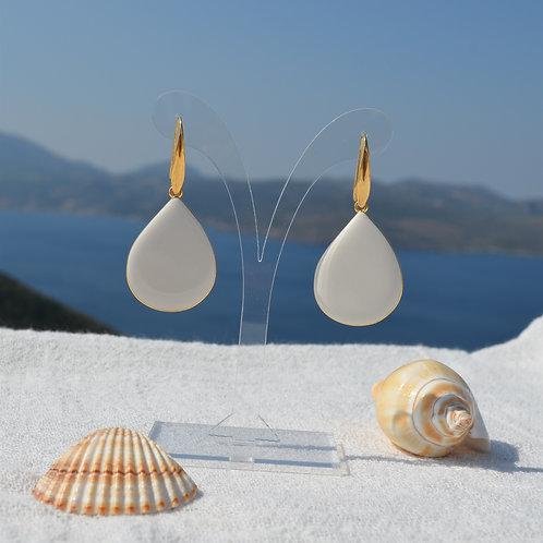 επίχρυσα σκουλαρίκια 24k σταγόνα με λευκό σμάλτο