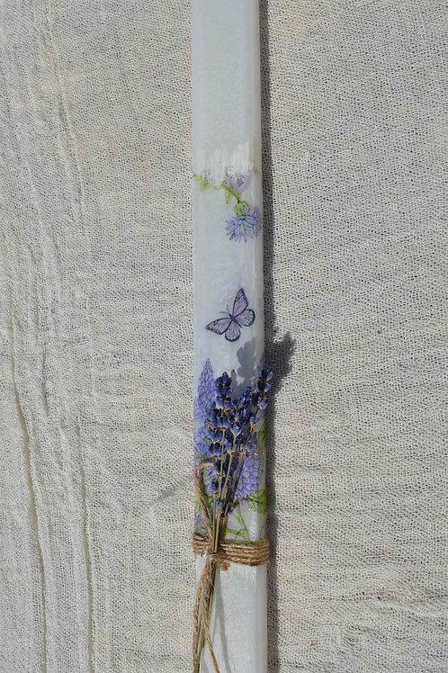 Λαμπάδα πεταλούδες decoupage